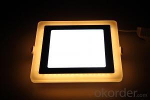 LED TWO COLOR PANEL LIGHT 12+4 W SQUARE  SHAPE RECESSED BLUE AND COLD WHITE