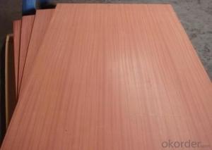 Sliced cutting Sapele Veneered MDF Panels Wood grain is straight