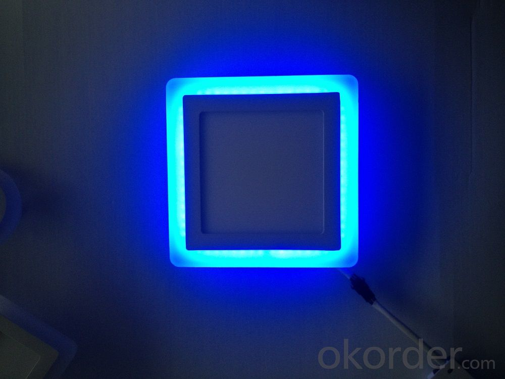 LED PANEL LIGHT DOUBLE COLOR SQUARE  SHAPE 12 AND 6W  RECESSED TYPE BLUE AND 6000K