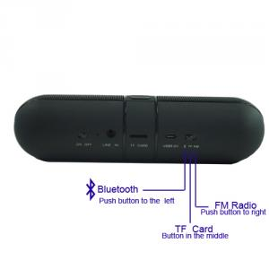 Portable Wireless Five Star Pill Speaker with TF and FM Radio Functions