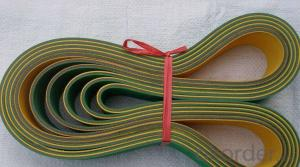 Green and Yellow/Blue Nylon Flat Transmission Belt