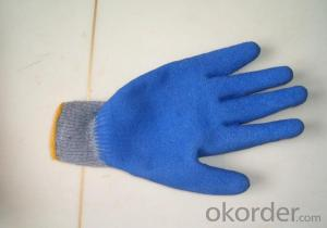 Cotton Knitted Laminated Latex Coated Gloves Work