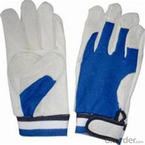 PVC Inner Split Double Palm Leather Work Glove with High Quality