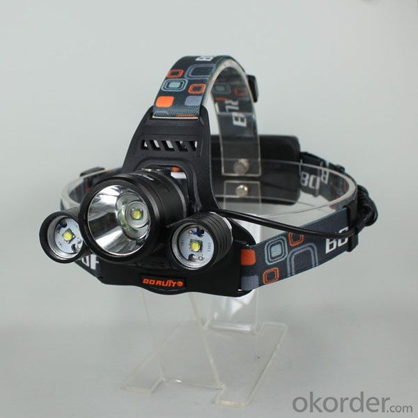 Headlight led flashlight 3*Cre e T6 Rechargeable Battery