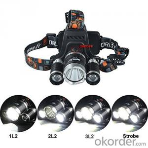 Headlight Led 6000lm 3 Cre e mode T6 Headlamp Rechargeable Battery