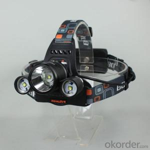 LED Headlamp RJ-3001 3xCR EE XML T6 5000 Lumens 4-Mode USB Rechargeable (2x18650)