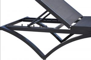 Aluminum Frame Sunlouger Set with Dust Cover BDAT-8124 Black