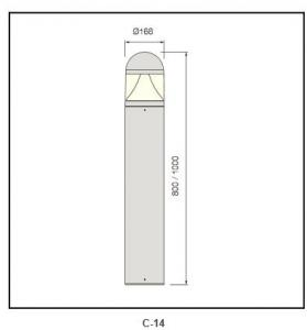 extruded aluminum pole Bollard Lighting c-14