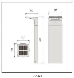 2W solar plate PMMA diffuser Bollard Lighting c-142s