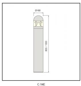 extruded aluminum pole Bollard Lighting c-14E
