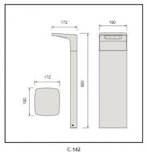 2W solar plate PMMA diffuser Bollard Lighting c-142