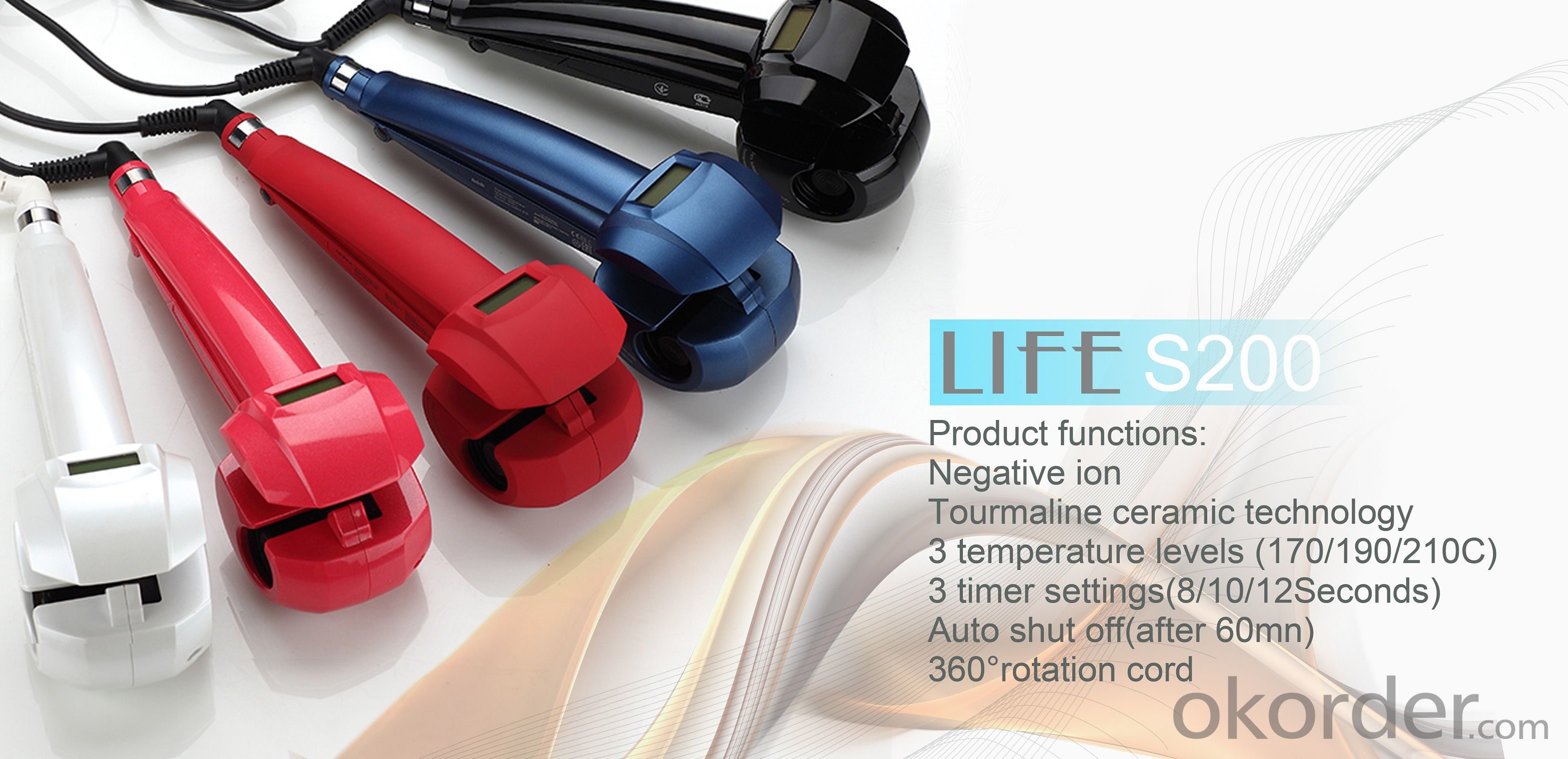 Auto hair curler S200 100-240V 50HZ 25W Sleep mode Auto shut off
