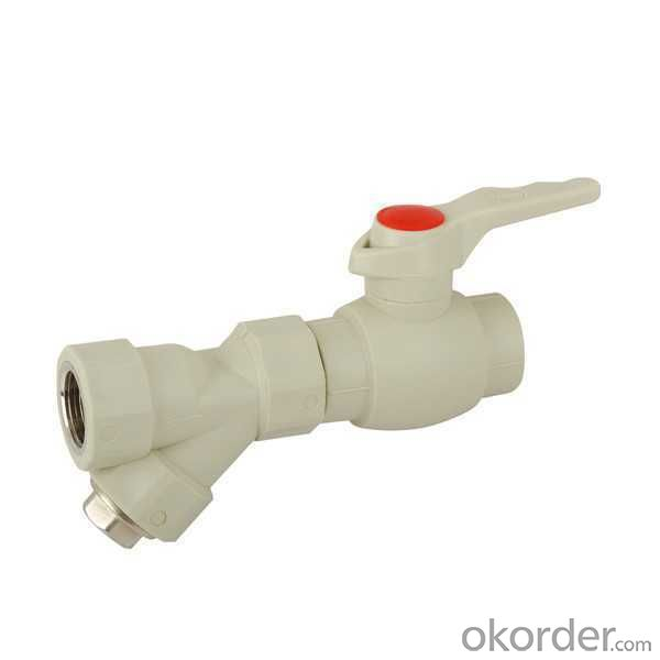 High  Quality  B Type plastic ball valve with brass core and sing female threaded filter