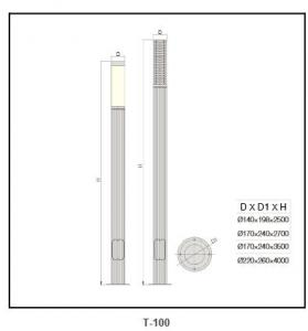 Anodized aluminum grid street light T-100