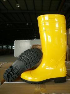 Yellow PVC Industrial Safety Boots with Steel Toecap and  Midsole