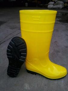 Yellow PVC Safety Working Boots with Steel Toecap and  Midsole