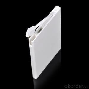 Credit Card power bank 2500mAh powerbanks Build in Cable Ultra Thin Charger for Portable Devices