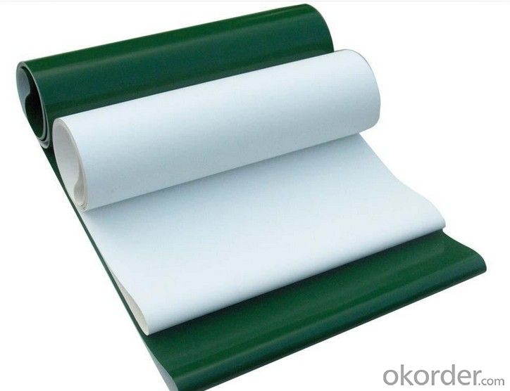 Green/White/Blue PVC/PU Conveyor Belt in Light Industry