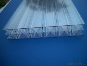 6mm,8mm,10mm thickness clear X-Profile polycarbonate hollow sheet for roofing cover