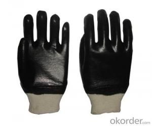 M101-01 black PVC Coated smooth knit wrist glove