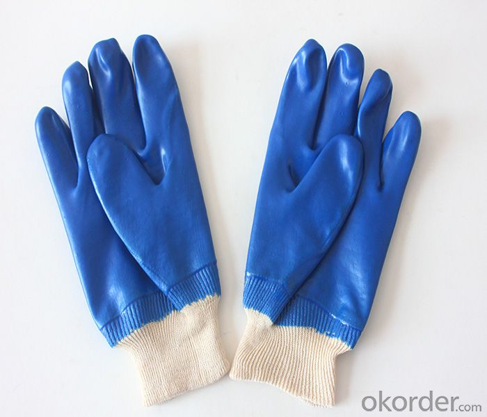 M101-01blueJPVC Coated smooth knit wrist glove for working