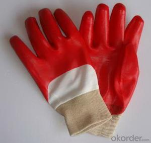M101-02 red open back half-dipped PVC glove knit wrist gloves