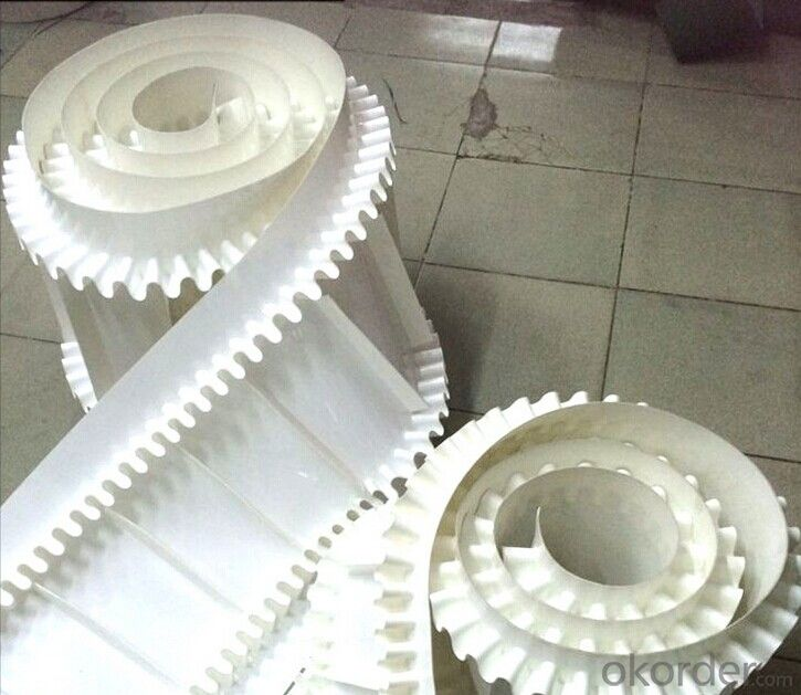 White PVC/PU Conveyor Belt with Sidewall and Cleats