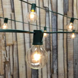G50 Patio Globe String Lights with 25 Bulbs for Outdoor String Lighting with UL Listed (Black Wire)