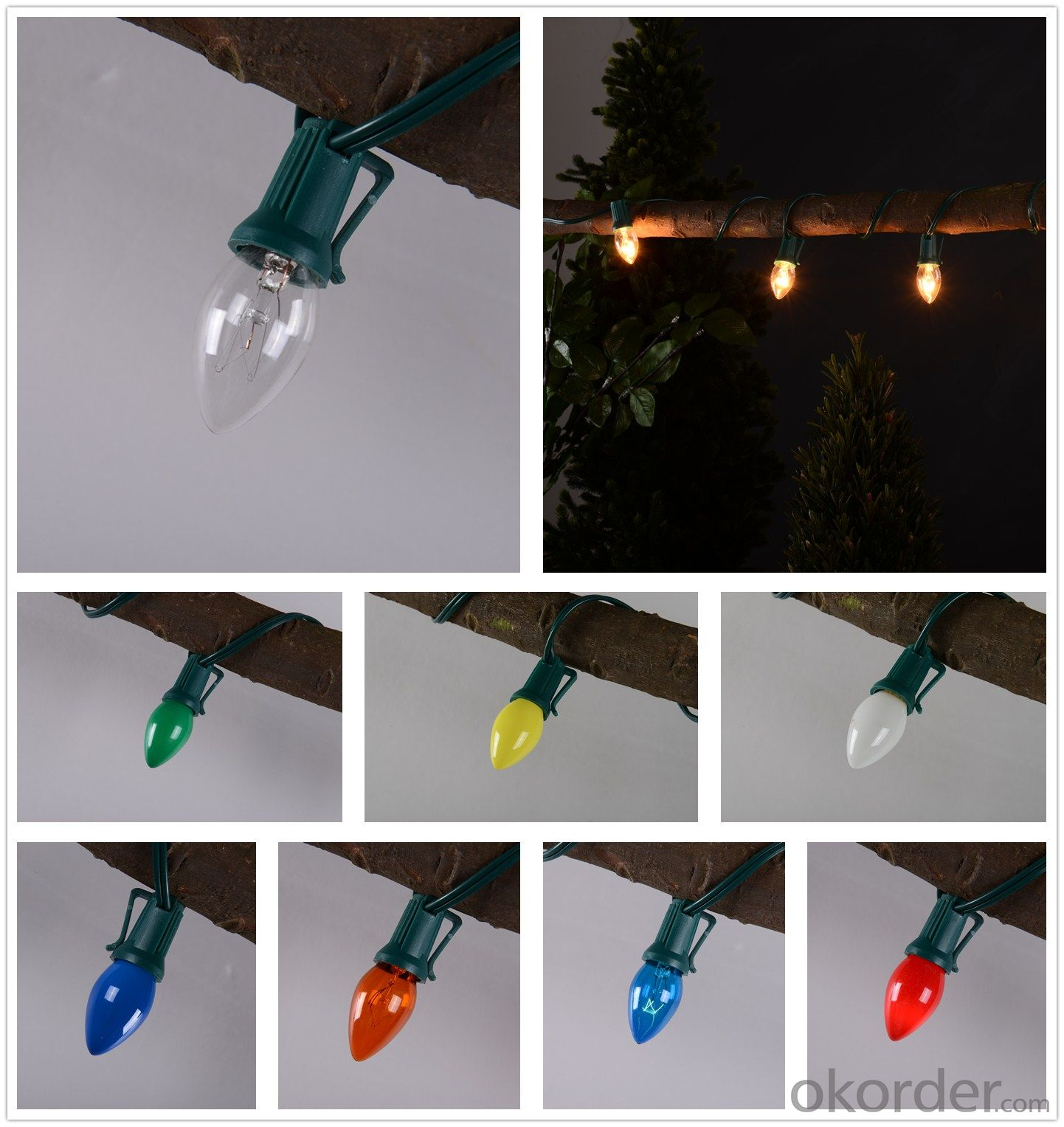 C7 Incandescent bulb light string decorative light waterproof hanging socket outdoor light