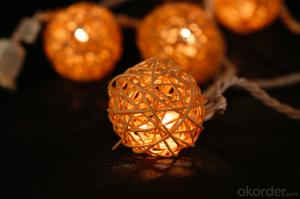 Rattan ball light string decorative light waterproof hanging socket outdoor light