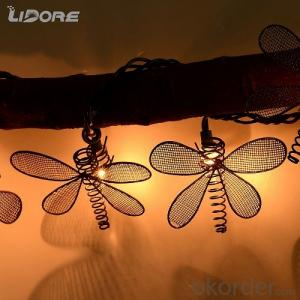 Christmas and Holiday Decoration Battery-Operated Dragonfly Shaped LED Light String