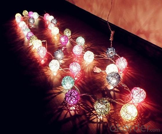 Led Rattan Balls Multicolor Cotton String Lights for Outdoor String Lights