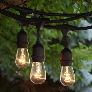 Patio Lights 48 Feet Hanging String Lighting with 15 Dropped Sockets, 3-Feet distance 15pcs S14 bulb