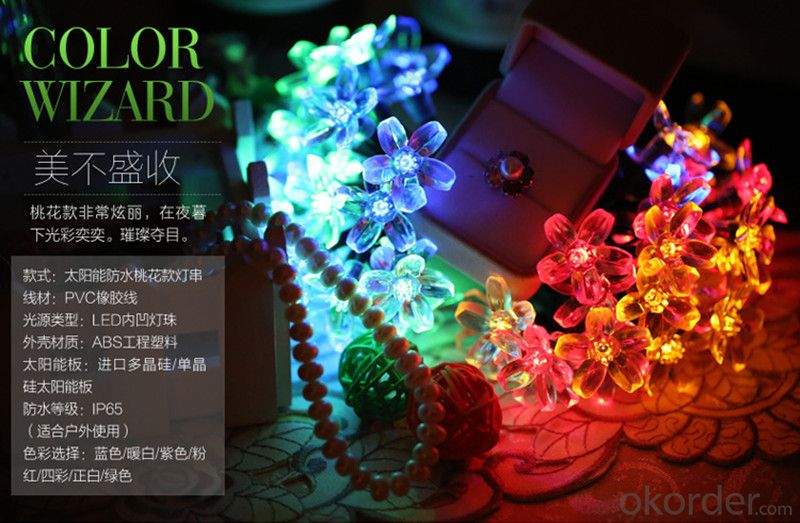 Sakura Solar Light String 200X15cm 5 Meters 20 Lights for Christmas and Party Decoration.