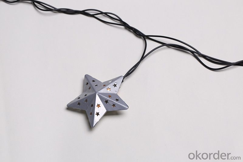 Metal Star Light String with 5.5 Feet 10 Lights for Holiday and Party Decoration.