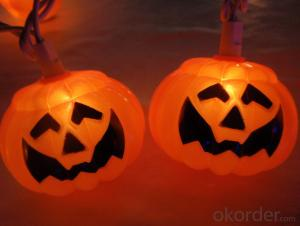 Pumpkin Light String with 5.5 feet 10 Lights for Holiday and Party Decoration.