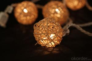 Rattan Ball Light String with 5.5 feet 10 Lights for Holiday and Party Decoration.