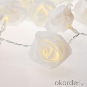 White Rose 3AA Battery Operated Mini LED Light String with 20 Lights for Decoration.