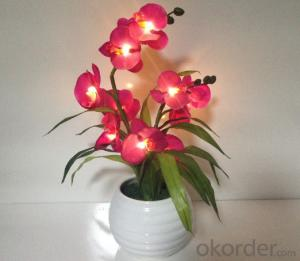 Decorative LED PU Natural Artificial Butterfly Orchid Flower Light