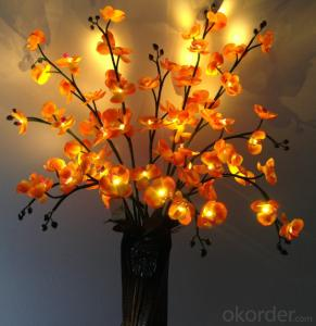 White Decorative LED PU Natural Artificial Butterfly Orchid Flower Light