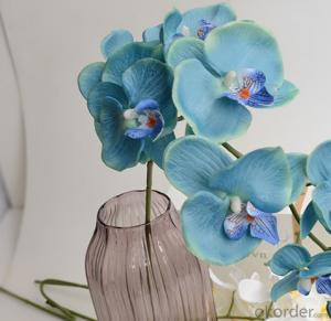 Blue Decorative LED PU Natural Artificial Butterfly Orchid Flower Light