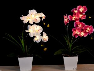 Pink Decorative LED PU Natural Artificial Butterfly Orchid Flower Light