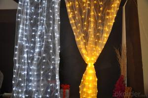 Incandescent Bulb Curtain Light String with 100 Lights 20 Drops for Christmas and Party Decoration.