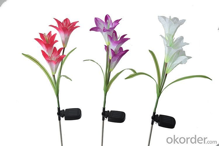 Outdoor Decorative Solar LED Lily Flower Lights for Garden Yard Year-round, Great Gift