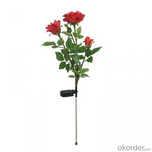 Solar Powered Garden Outdoor Decorative Landscape LED Red Rose Lights Year-round, Great Gift