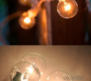 Patio lights G40 Party Globe Vintage String Lights, Holiday Backyard lack/White/Green Color