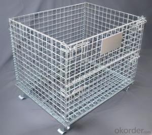 Warehouse Metal Folding Storage Wire Mesh Cage Container