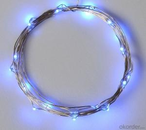 Blue Battery Operated LED Copper Wire String Lights for  Holidays Party Wedding Decoration