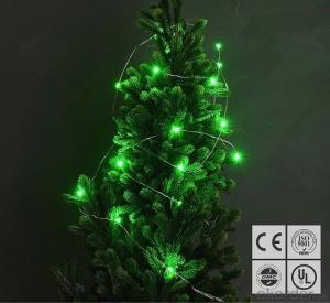 Coloful Green Copper Wire Outdoor Led String Christmas Lights with Remote Control and Power Supply