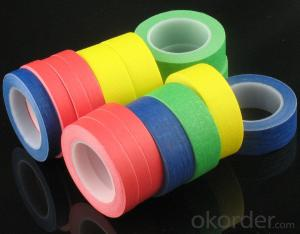 Colorful Skin Heat Resistant Masking Tape with Paper Attached Crepe Paper Tape